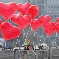 Кулька в формі серця наповнена гелієм, Львів